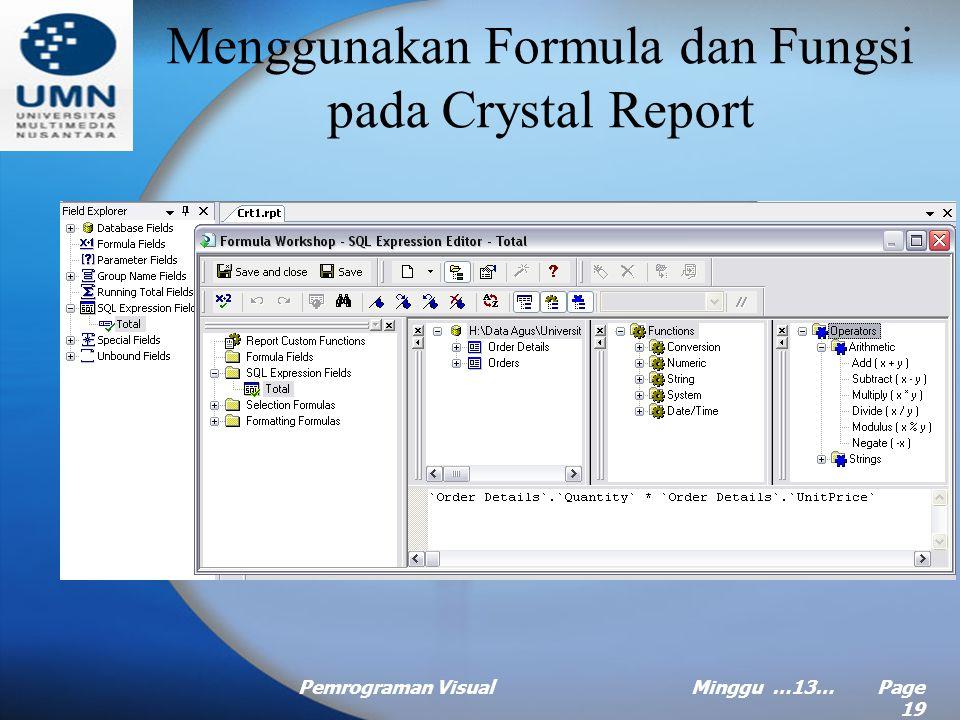 Pemrograman VisualMinggu …13… Page 18 Menambahkan Special Field Teks pada Laporan (Continued …) –Report Title Judul dari laporan (didefinisikan pada b