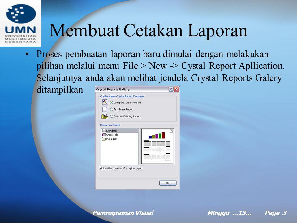 Pemrograman VisualMinggu …13… Page 2 Agenda Membuat cetakan laporan Menampilkan laporan Memilih Record Menambah Kriteria Pemilihan record Mebuat Group
