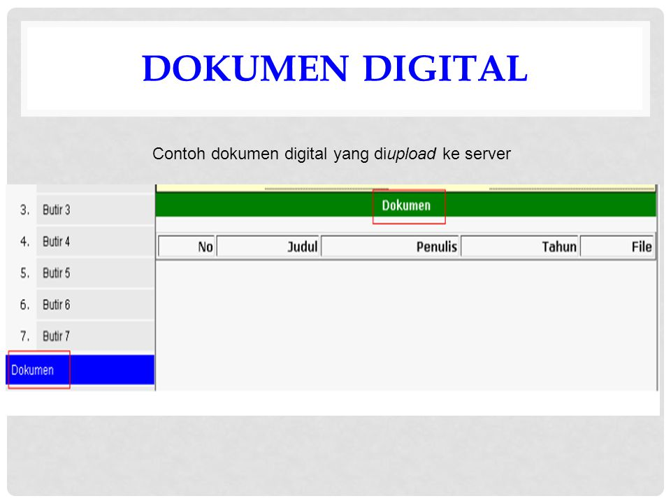 DOKUMEN DIGITAL Contoh dokumen digital yang diupload ke server