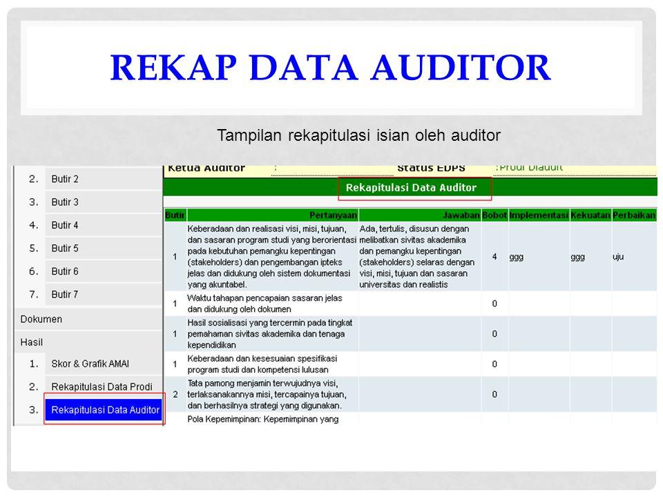 REKAP DATA AUDITOR Tampilan rekapitulasi isian oleh auditor