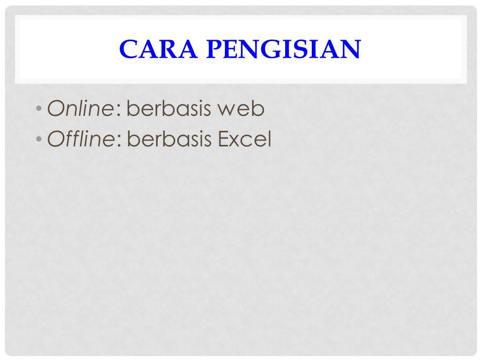CARA PENGISIAN Online: berbasis web Offline: berbasis Excel