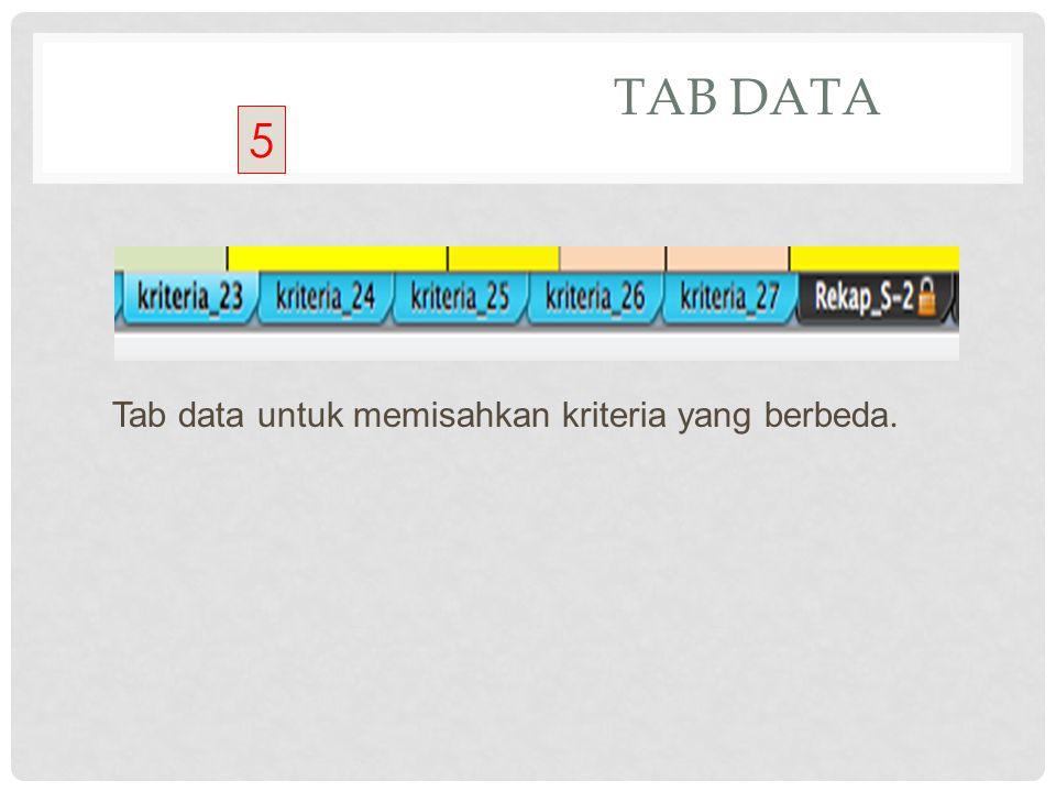 TAB DATA Tab data untuk memisahkan kriteria yang berbeda. 5