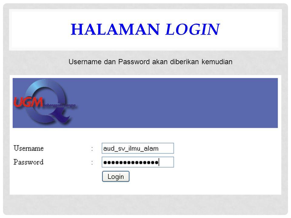 HALAMAN LOGIN Username dan Password akan diberikan kemudian