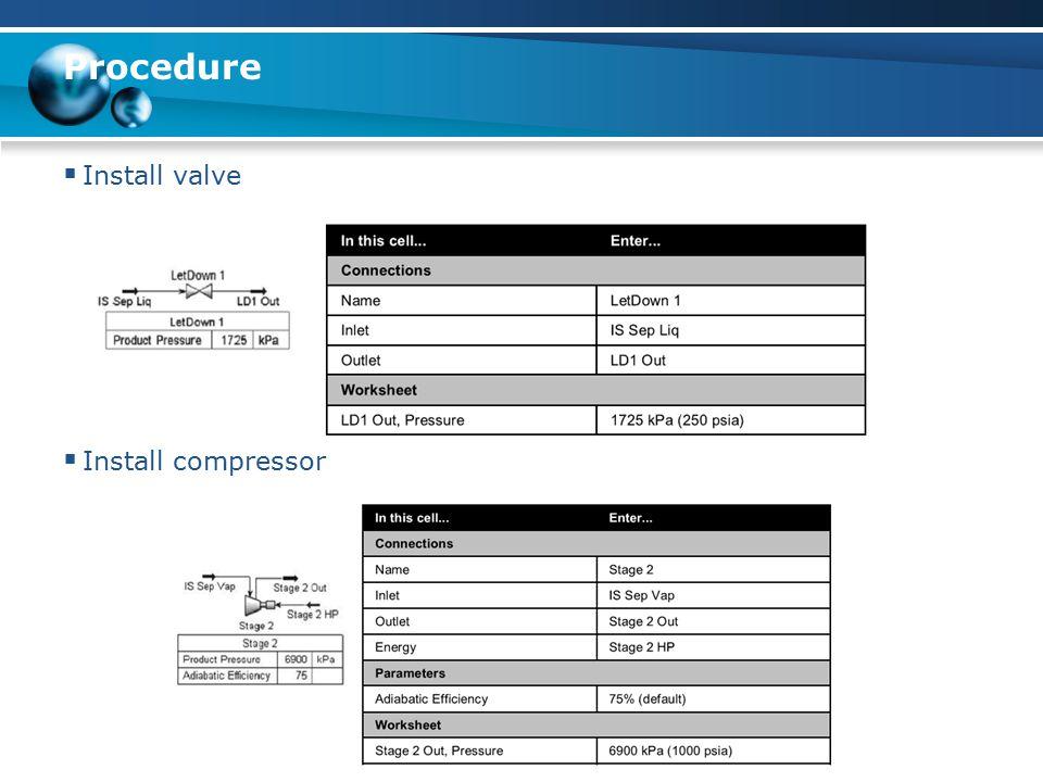 Procedure  Install valve  Install compressor
