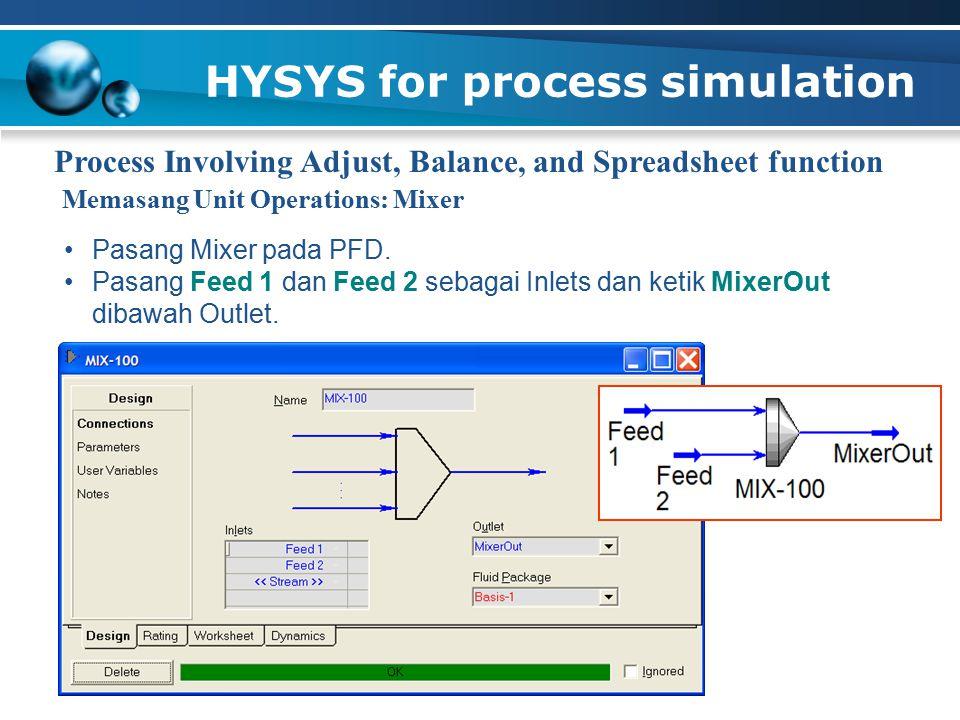 HYSYS for process simulation Process Involving Adjust, Balance, and Spreadsheet function Pasang Mixer pada PFD. Pasang Feed 1 dan Feed 2 sebagai Inlet