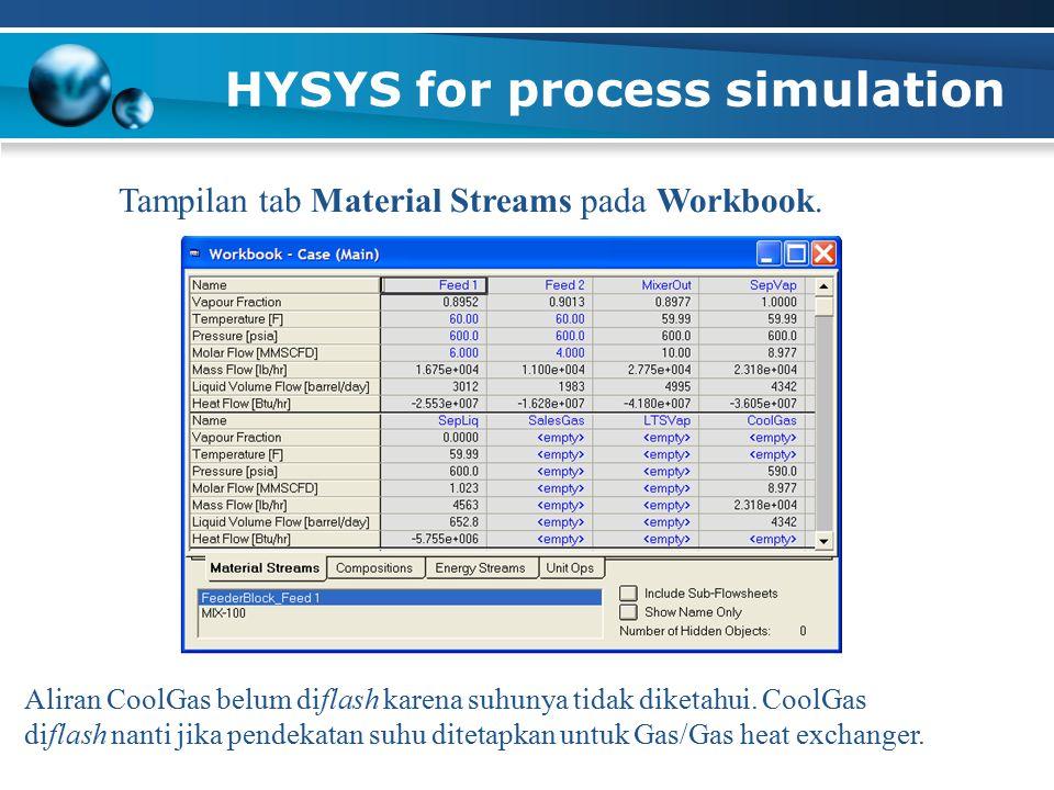 HYSYS for process simulation Tampilan tab Material Streams pada Workbook. Aliran CoolGas belum diflash karena suhunya tidak diketahui. CoolGas diflash