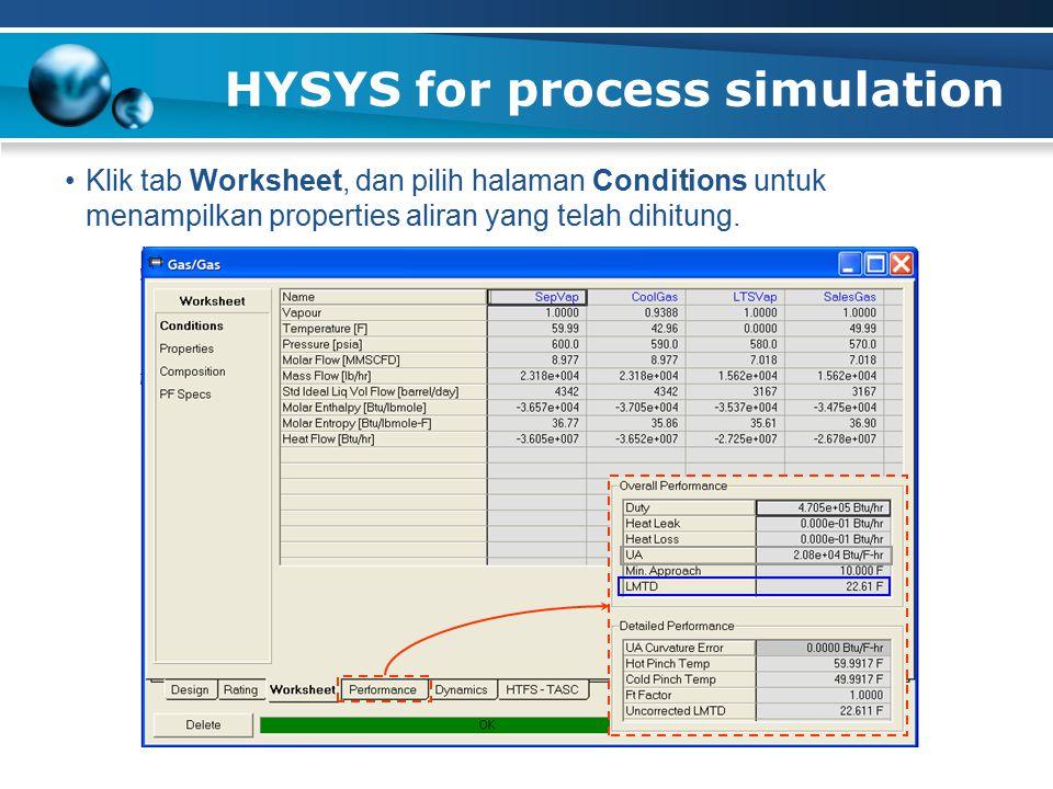 HYSYS for process simulation Klik tab Worksheet, dan pilih halaman Conditions untuk menampilkan properties aliran yang telah dihitung.