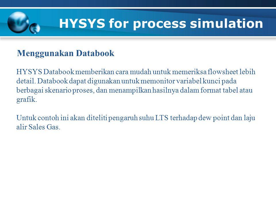 HYSYS for process simulation HYSYS Databook memberikan cara mudah untuk memeriksa flowsheet lebih detail. Databook dapat digunakan untuk memonitor var