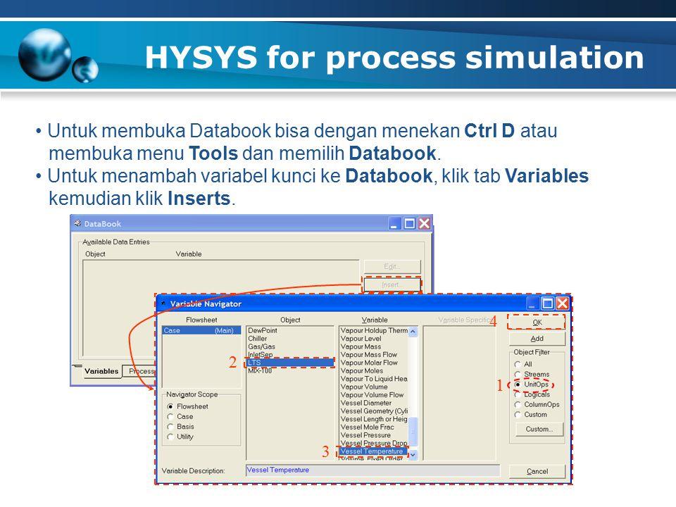 HYSYS for process simulation 36 Untuk membuka Databook bisa dengan menekan Ctrl D atau membuka menu Tools dan memilih Databook. Untuk menambah variabe