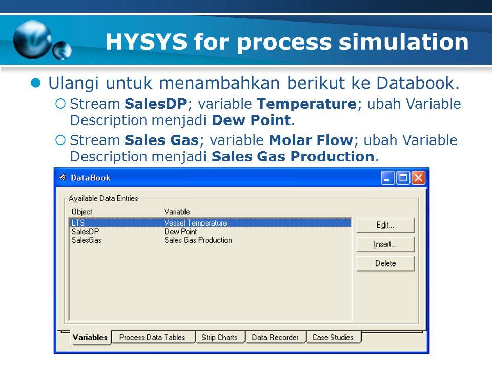 HYSYS for process simulation Ulangi untuk menambahkan berikut ke Databook.  Stream SalesDP; variable Temperature; ubah Variable Description menjadi D