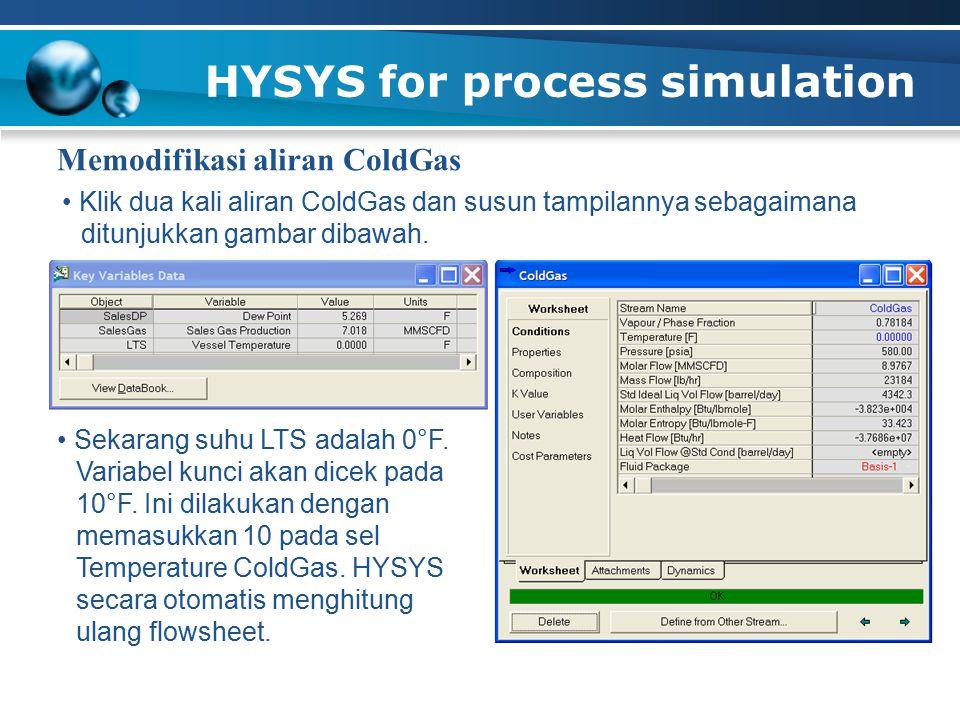 HYSYS for process simulation Memodifikasi aliran ColdGas Klik dua kali aliran ColdGas dan susun tampilannya sebagaimana ditunjukkan gambar dibawah. Se