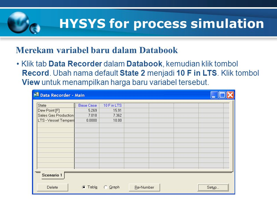 HYSYS for process simulation Merekam variabel baru dalam Databook Klik tab Data Recorder dalam Databook, kemudian klik tombol Record. Ubah nama defaul