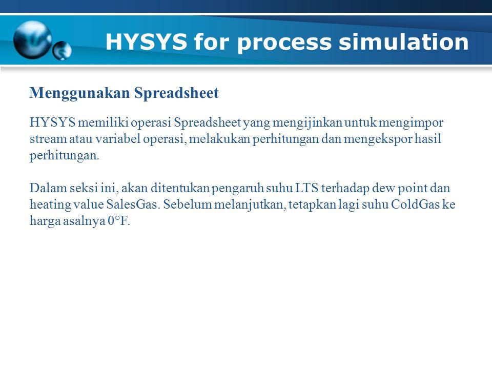 HYSYS for process simulation HYSYS memiliki operasi Spreadsheet yang mengijinkan untuk mengimpor stream atau variabel operasi, melakukan perhitungan dan mengekspor hasil perhitungan.