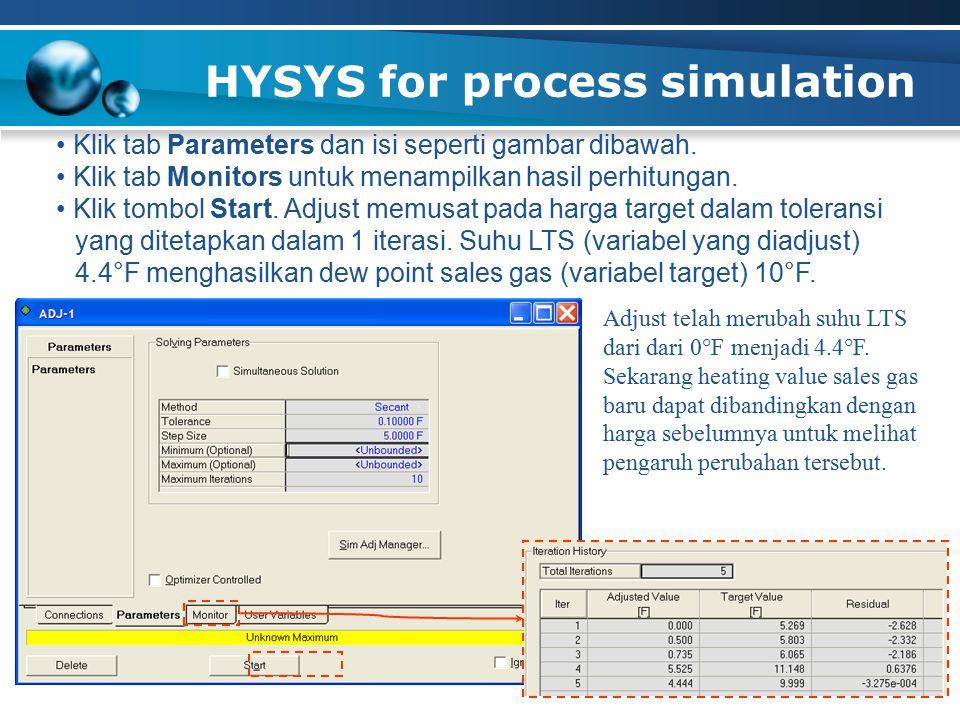 HYSYS for process simulation Klik tab Parameters dan isi seperti gambar dibawah. Klik tab Monitors untuk menampilkan hasil perhitungan. Klik tombol St