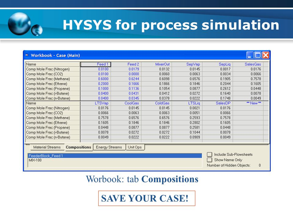 HYSYS for process simulation Worbook: tab Compositions SAVE YOUR CASE!