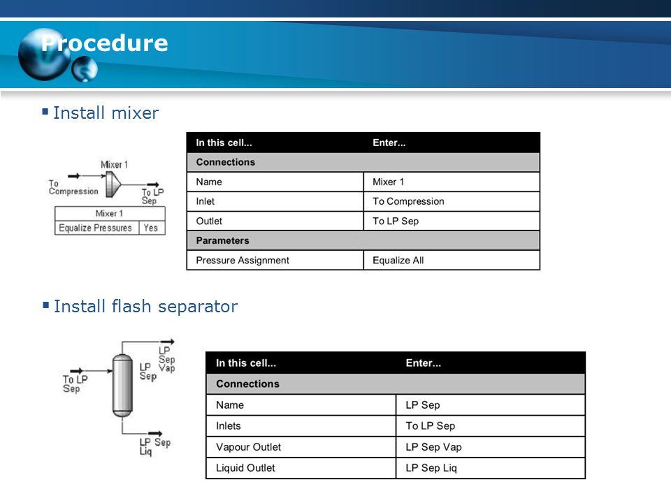 Procedure  Install mixer  Install flash separator