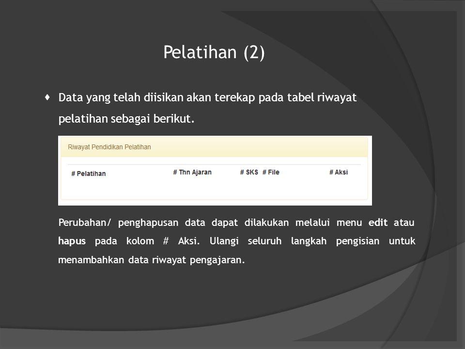 Pelatihan (2)  Data yang telah diisikan akan terekap pada tabel riwayat pelatihan sebagai berikut. Perubahan/ penghapusan data dapat dilakukan melalu