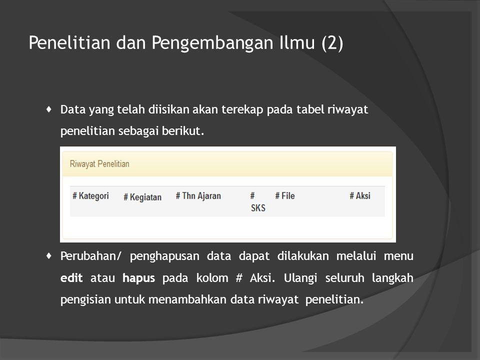 Penelitian dan Pengembangan Ilmu (2)  Data yang telah diisikan akan terekap pada tabel riwayat penelitian sebagai berikut.