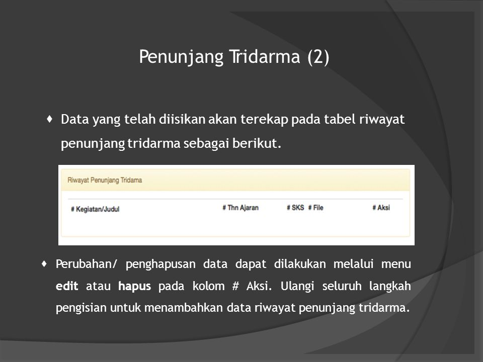 Penunjang Tridarma (2)  Data yang telah diisikan akan terekap pada tabel riwayat penunjang tridarma sebagai berikut.  Perubahan/ penghapusan data da