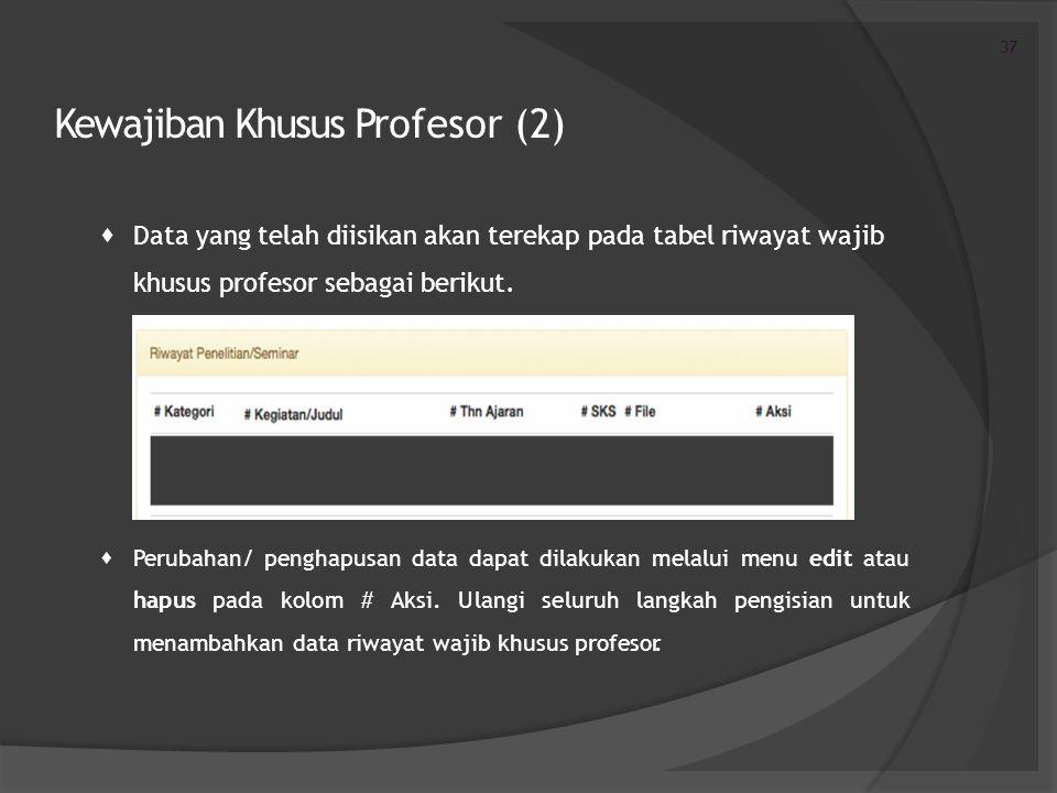 Kewajiban Khusus Profesor (2)  Data yang telah diisikan akan terekap pada tabel riwayat wajib khusus profesor sebagai berikut.  Perubahan/ penghapus