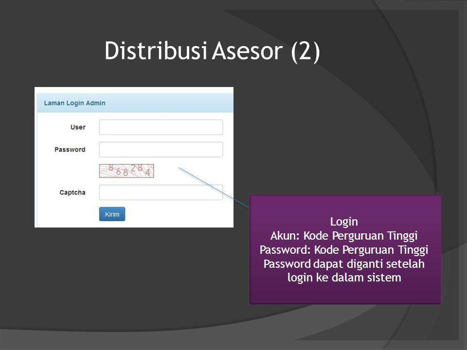Distribusi Asesor (2) Login Akun: Kode Perguruan Tinggi Password: Kode Perguruan Tinggi Password dapat diganti setelah login ke dalam sistem