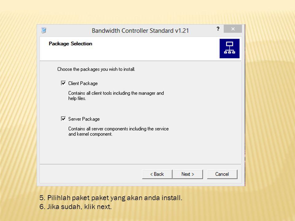 5. Pilihlah paket paket yang akan anda install. 6. Jika sudah, klik next.