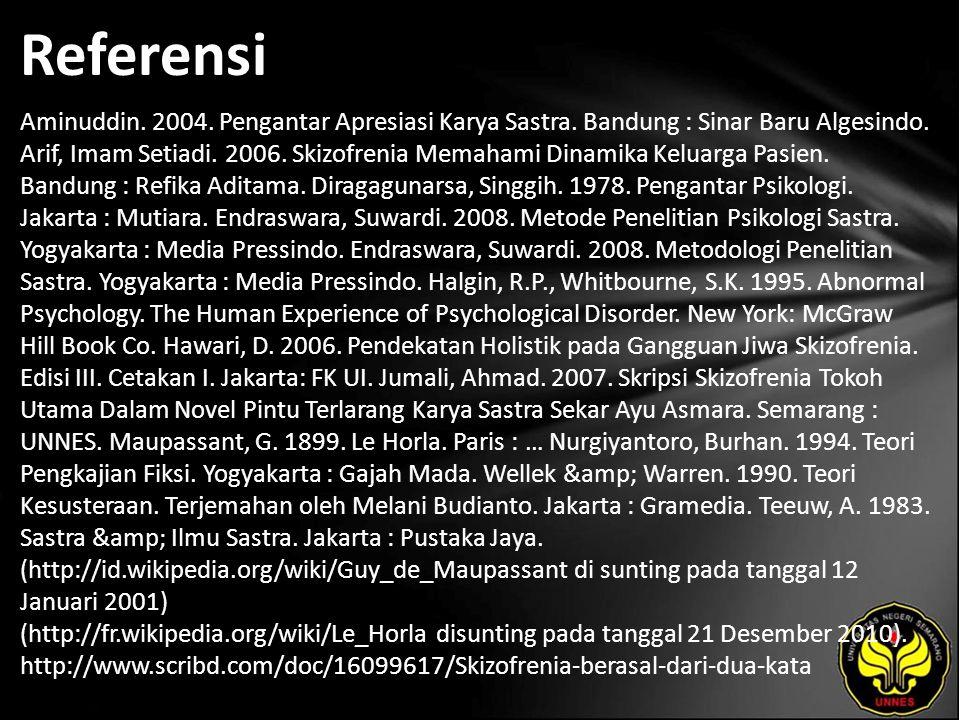 Referensi Aminuddin. 2004. Pengantar Apresiasi Karya Sastra. Bandung : Sinar Baru Algesindo. Arif, Imam Setiadi. 2006. Skizofrenia Memahami Dinamika K