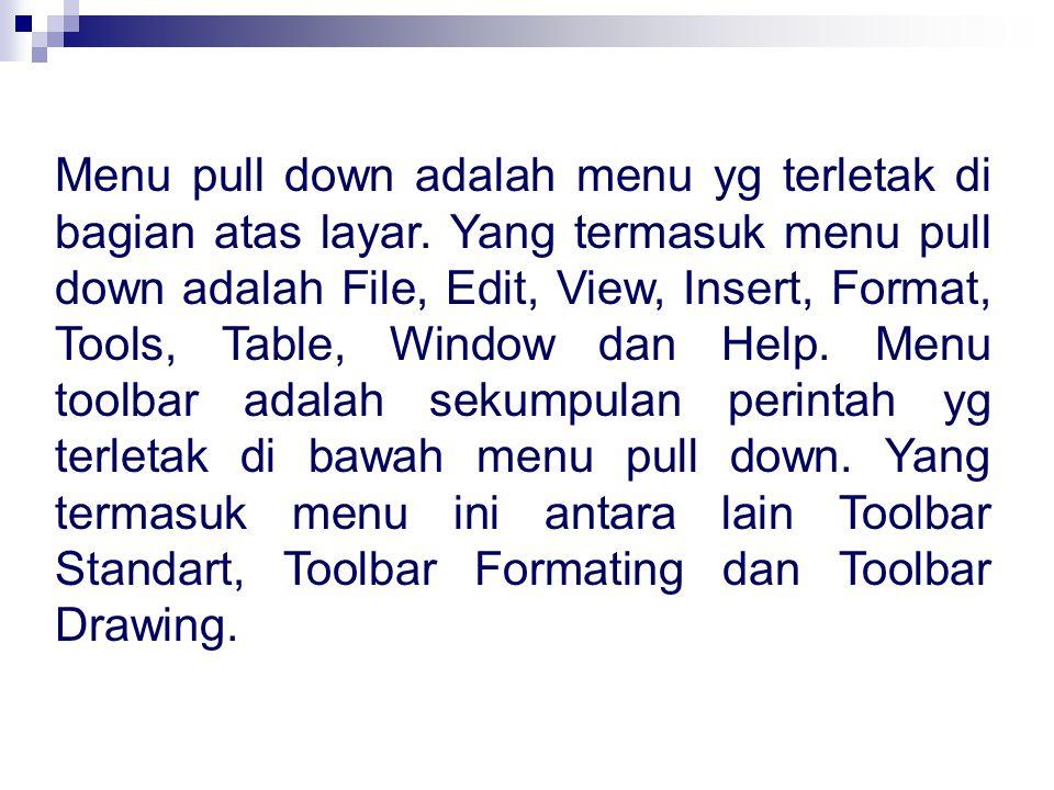 Menu pull down adalah menu yg terletak di bagian atas layar. Yang termasuk menu pull down adalah File, Edit, View, Insert, Format, Tools, Table, Windo