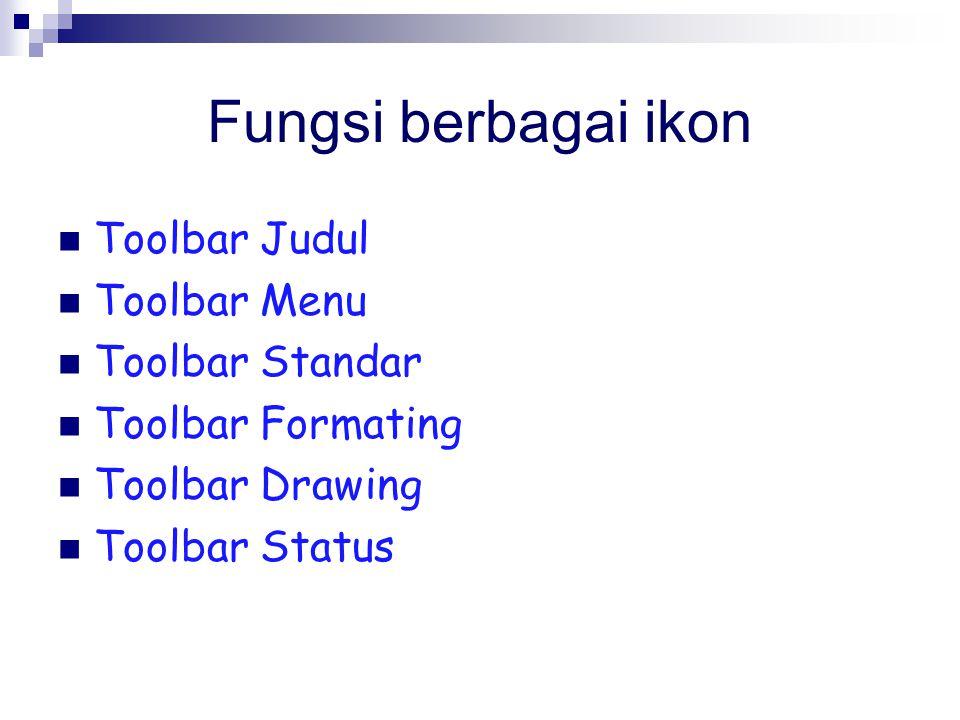 Fungsi berbagai ikon Toolbar Judul Toolbar Menu Toolbar Standar Toolbar Formating Toolbar Drawing Toolbar Status