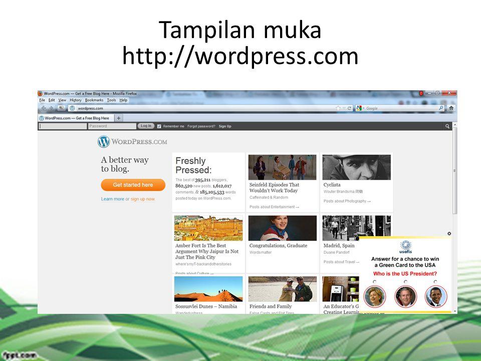 Tampilan muka http://wordpress.com