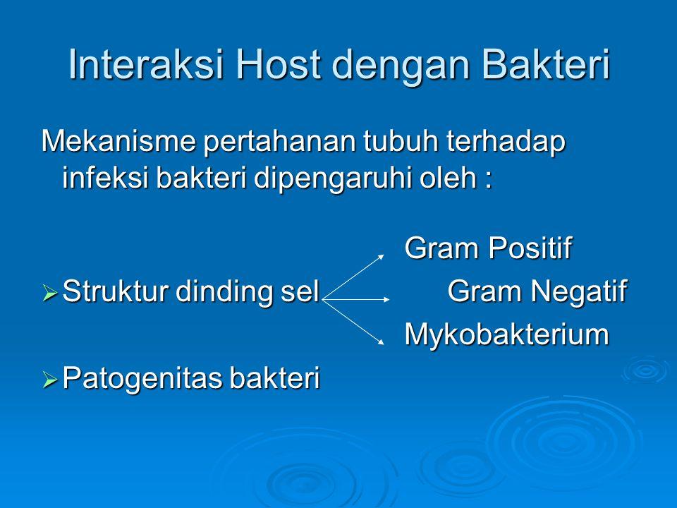 Interaksi Host dengan Bakteri Mekanisme pertahanan tubuh terhadap infeksi bakteri dipengaruhi oleh : Gram Positif Gram Positif  Struktur dinding selGram Negatif Mykobakterium Mykobakterium  Patogenitas bakteri