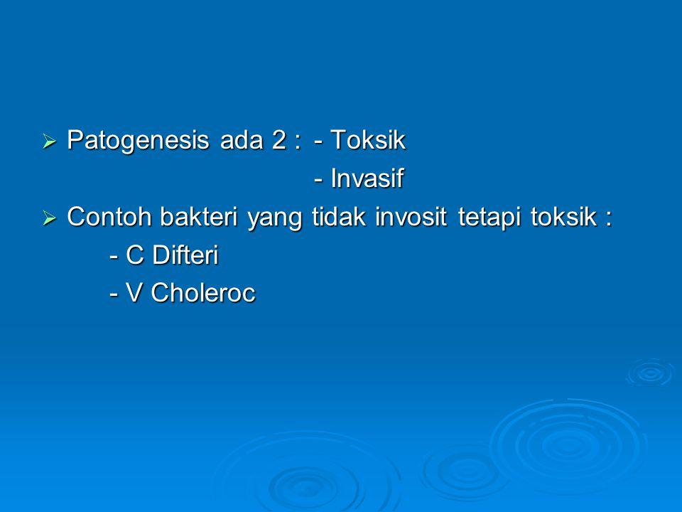  Patogenesis ada 2 :- Toksik - Invasif  Contoh bakteri yang tidak invosit tetapi toksik : - C Difteri - V Choleroc