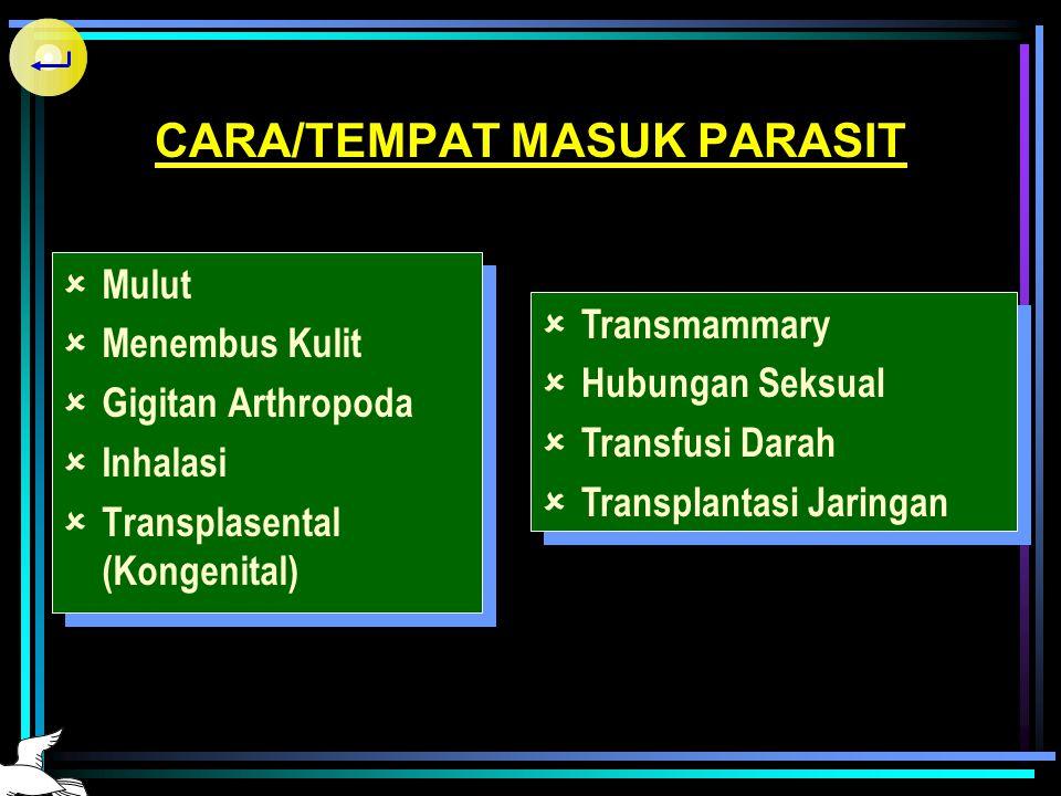 PENGANDUNG PARASIT  Tanah / air terkontaminasi  Makanan yang mengandung stadium infektif  Arthopoda pengisap darah  Binatang (piaraan, buas)  Tum