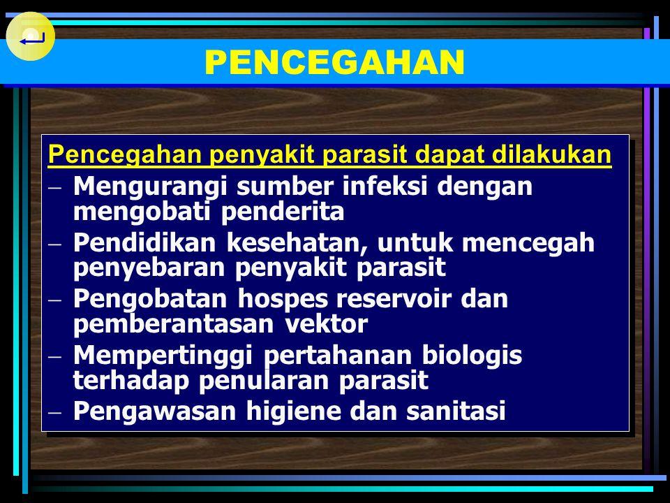 Harus diperhatikan :  Obat-obat dengan efek letal terhadap parasit serta efek sampingan minimal pada hospes  Kadang-kadang diperlukan tindakan bedah