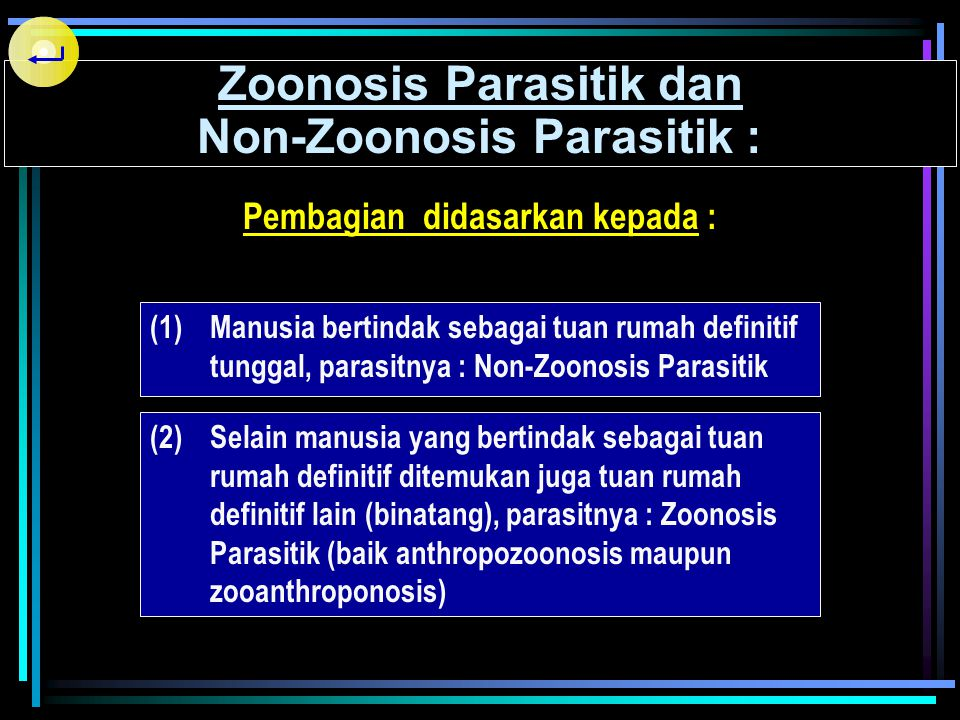 PEMBERIAN NAMA PARASIT  Nama Yunani atau Latin  Binomial Nomenclature  The International Code of Zoological Nomenclature Contoh : Ascaris lumbricoi