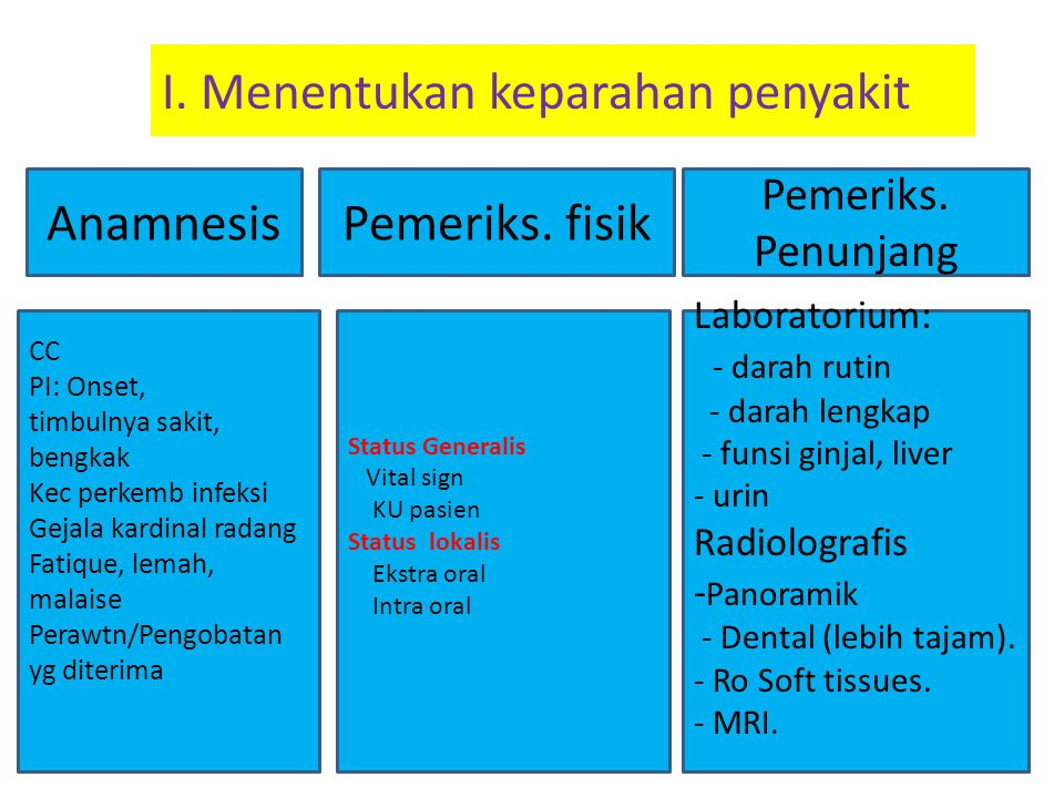 I. Menentukan keparahan penyakit Anamnesis Pemeriks. Penunjang Pemeriks. fisik CC PI: Onset, timbulnya sakit, bengkak Kec perkemb infeksi Gejala kardi