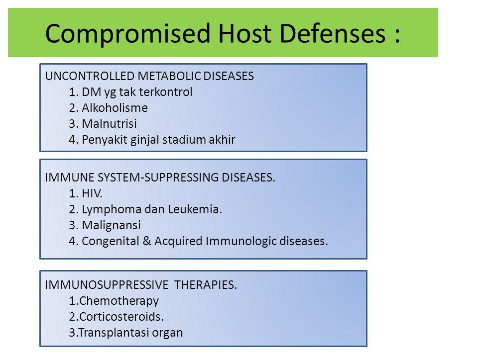 Compromised Host Defenses : UNCONTROLLED METABOLIC DISEASES 1. DM yg tak terkontrol 2. Alkoholisme 3. Malnutrisi 4. Penyakit ginjal stadium akhir IMMU