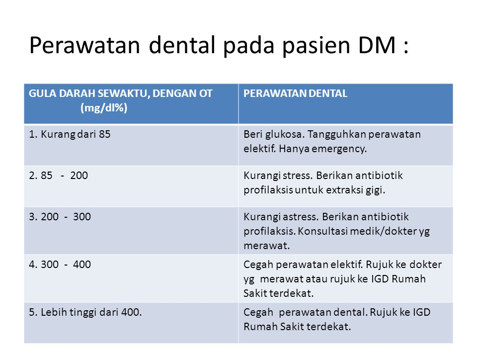 Perawatan dental pada pasien DM : GULA DARAH SEWAKTU, DENGAN OT (mg/dl%) PERAWATAN DENTAL 1. Kurang dari 85Beri glukosa. Tangguhkan perawatan elektif.