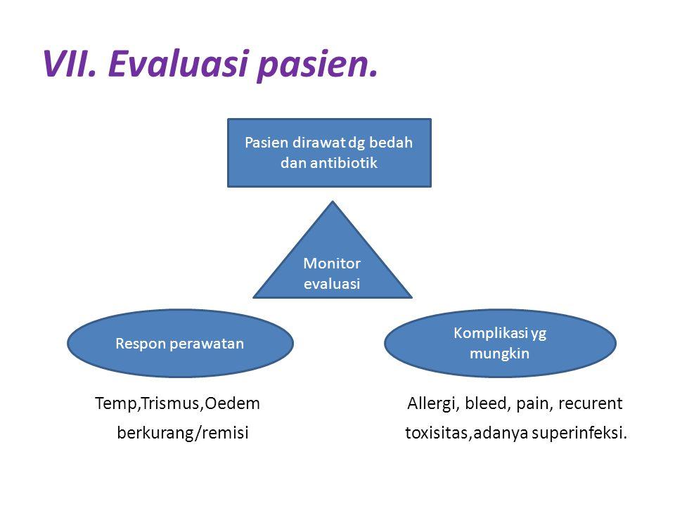 VII. Evaluasi pasien. Temp,Trismus,Oedem Allergi, bleed, pain, recurent berkurang/remisi toxisitas,adanya superinfeksi. Pasien dirawat dg bedah dan an