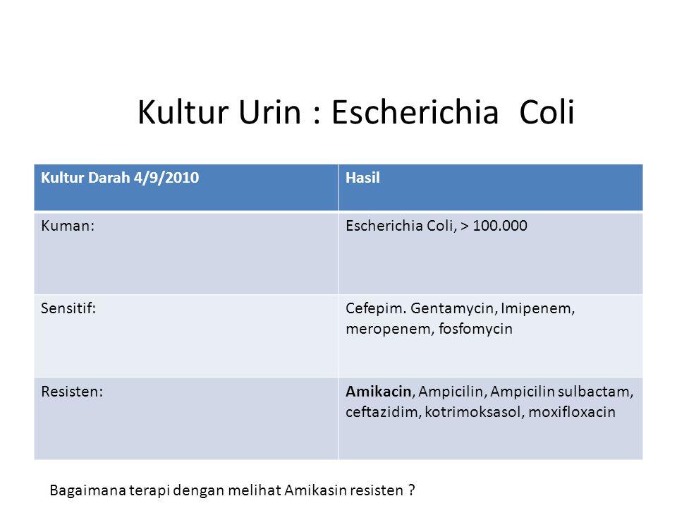 Kultur Urin : Escherichia Coli Kultur Darah 4/9/2010Hasil Kuman:Escherichia Coli, > 100.000 Sensitif:Cefepim.