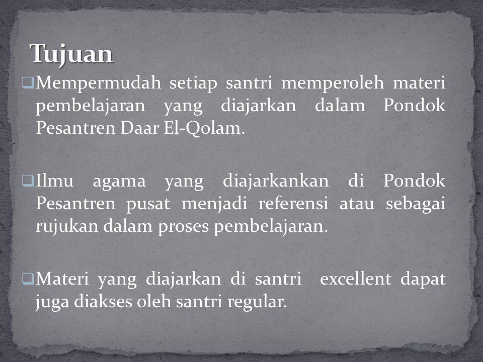  Mempermudah setiap santri memperoleh materi pembelajaran yang diajarkan dalam Pondok Pesantren Daar El-Qolam.
