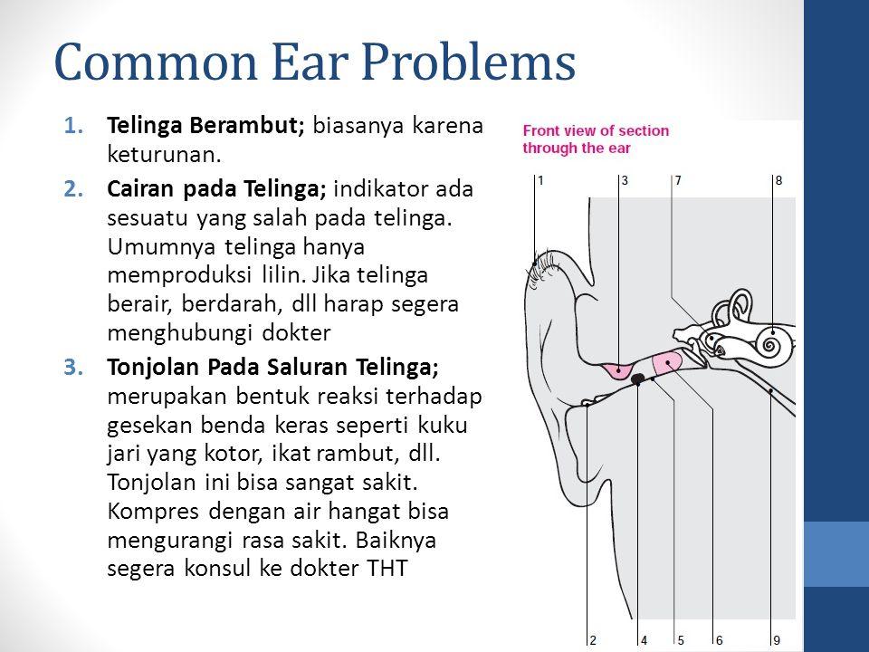 Common Ear Problems 1.Telinga Berambut; biasanya karena keturunan. 2.Cairan pada Telinga; indikator ada sesuatu yang salah pada telinga. Umumnya telin
