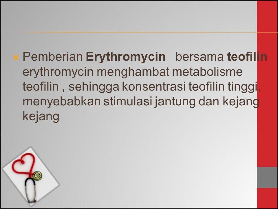  Pemberian Erythromycin bersama teofilin erythromycin menghambat metabolisme teofilin, sehingga konsentrasi teofilin tinggi, menyebabkan stimulasi ja
