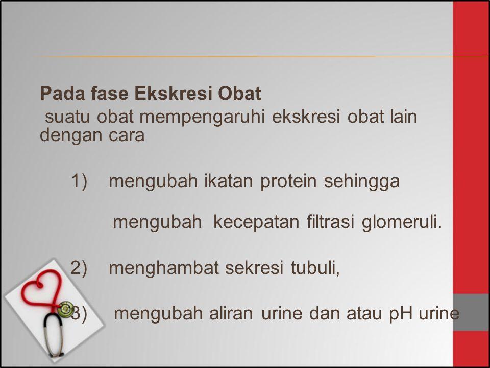 Pada fase Ekskresi Obat suatu obat mempengaruhi ekskresi obat lain dengan cara 1) mengubah ikatan protein sehingga mengubah kecepatan filtrasi glomeru