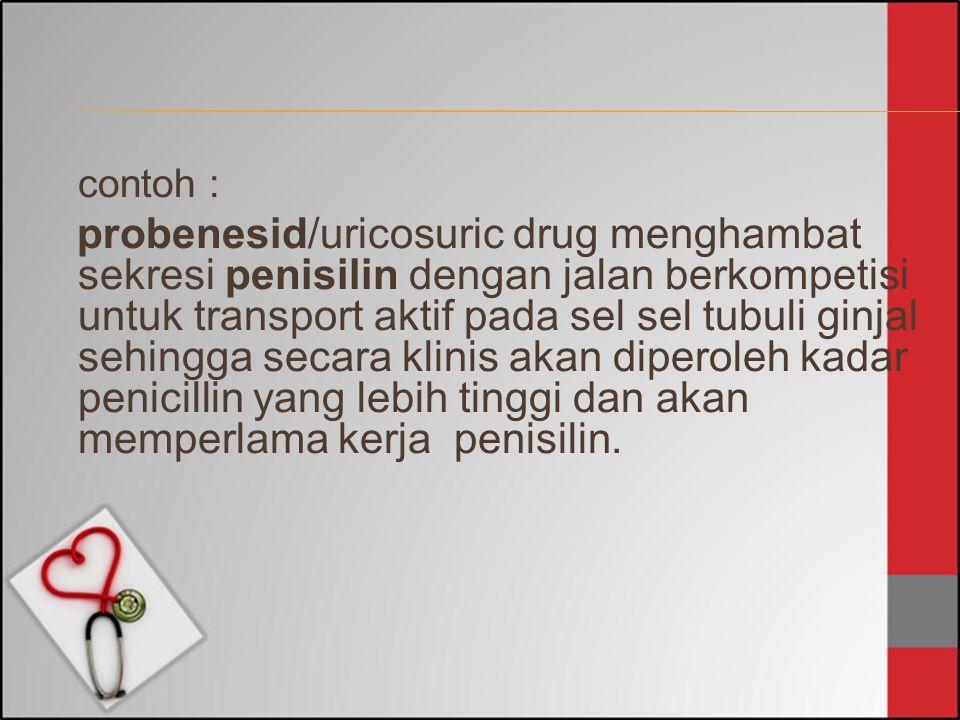 contoh : probenesid/uricosuric drug menghambat sekresi penisilin dengan jalan berkompetisi untuk transport aktif pada sel sel tubuli ginjal sehingga s