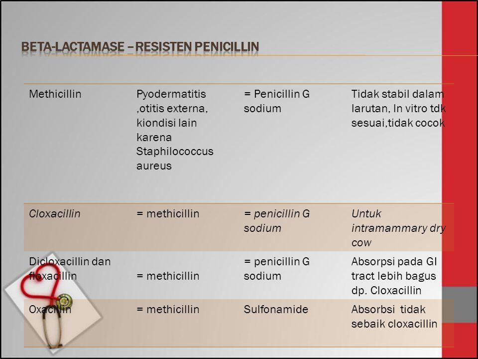 MethicillinPyodermatitis,otitis externa, kiondisi lain karena Staphilococcus aureus = Penicillin G sodium Tidak stabil dalam larutan, ln vitro tdk ses