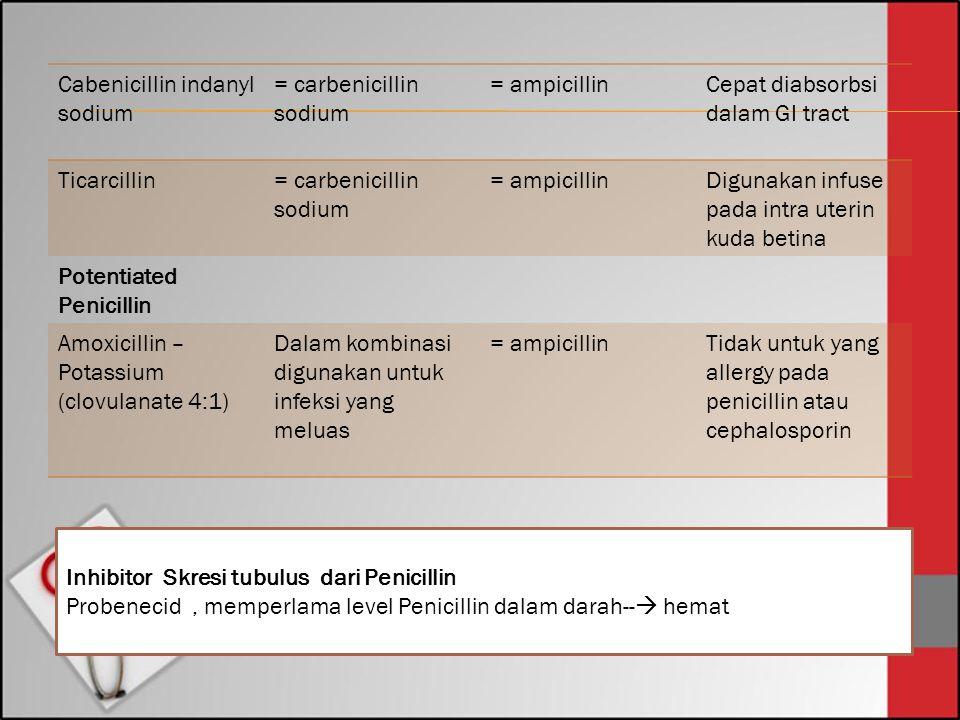 Cabenicillin indanyl sodium = carbenicillin sodium = ampicillinCepat diabsorbsi dalam GI tract Ticarcillin= carbenicillin sodium = ampicillin Digunaka
