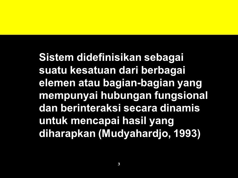 3 Sistem didefinisikan sebagai suatu kesatuan dari berbagai elemen atau bagian-bagian yang mempunyai hubungan fungsional dan berinteraksi secara dinamis untuk mencapai hasil yang diharapkan (Mudyahardjo, 1993)