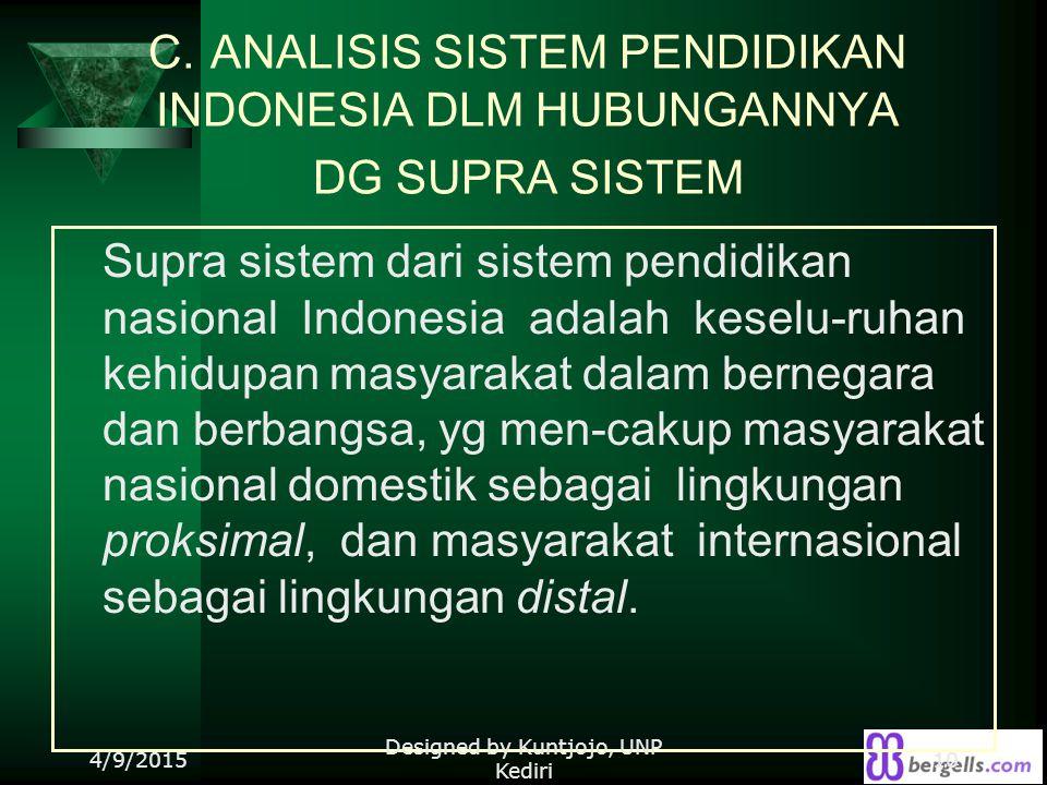 C. ANALISIS SISTEM PENDIDIKAN INDONESIA DLM HUBUNGANNYA DG SUPRA SISTEM Supra sistem dari sistem pendidikan nasional Indonesia adalah keselu-ruhan keh