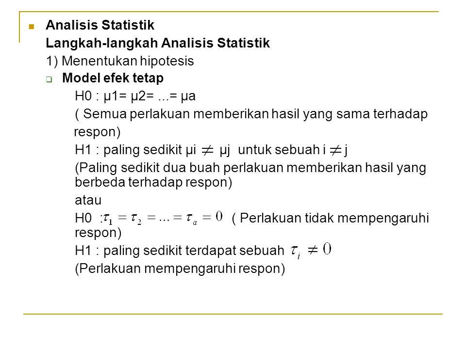 Analisis Statistik Langkah-langkah Analisis Statistik 1) Menentukan hipotesis  Model efek tetap H0 : µ1= µ2=...= µa ( Semua perlakuan memberikan hasi
